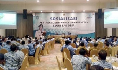 Bupati Malang Drs HM Sanusi MM dalam acara sosialisasi pertanggungjawaban pemanfaatan tanah kas desa. (Sur)