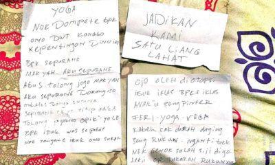 WASIAT : Tiga lembar pesan tulisan Joko. (ist)