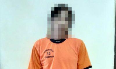 SAMSUL : Tersangka Samsul Anwar di Polsek Wagir. (Humas Polres Malang)