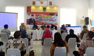 Sosialisasi Kesiapan Protokol Kesehatan di Gedung LTSA Disnaker Kabupaten Malang. (ist)