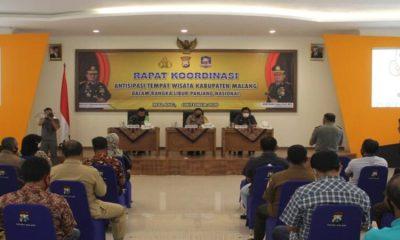 Rakor antisipasi libur panjang yang dipimpin oleh Kapolres Malang.
