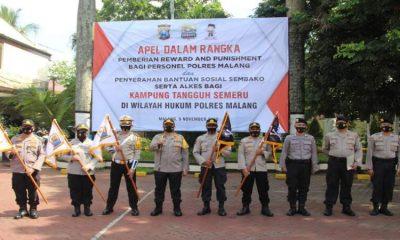 Kapolres Malang, AKBP Hendri Umar beserta jajarannya usai mengikuti Apel Reward dan Punishment serta penyaluran bantuan Alkes.
