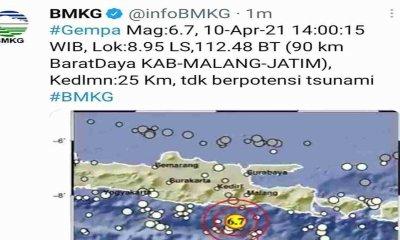 Rilis BMKG Terkait Gempa Malang, Guncangan Dirasakan hingga Lombok Utara dan Sumbawa Selain Selatan Jawa